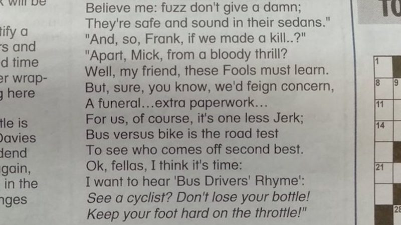 Regional newspaper under fire after publishing 'anti-cycling' poem