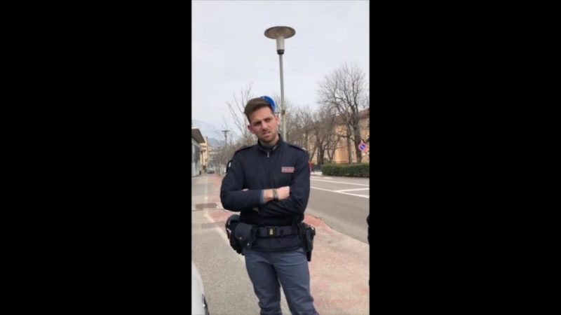 Coronavirus: Cyclist in Italy tells police he doesn't recognise emergency laws in bizarre video