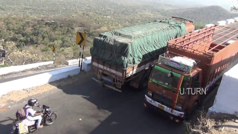 Ashok Leyland lorry, Eicher truck and bike on dhimbam ghat roads hairpin bend – U Turn